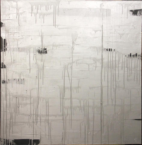 James Jarrett Silver abstraction oil on canvas 47 x 47in