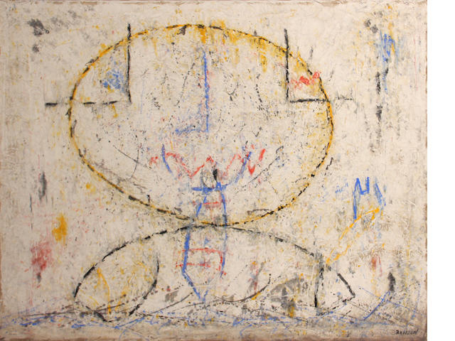 Jean Marie Brisson Geometric Figure, c. 1957 oil and sand on canvas 50 x 63in