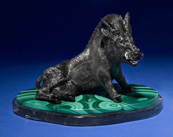 "Obsidian Carving of a Wild Boar--""Il Porcellino"""