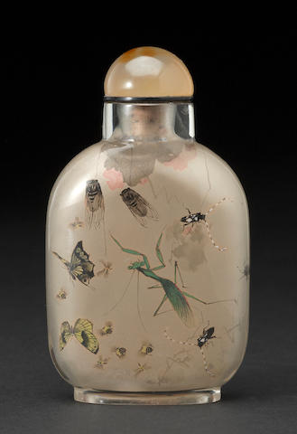 An inside painted snuff bottle with insects