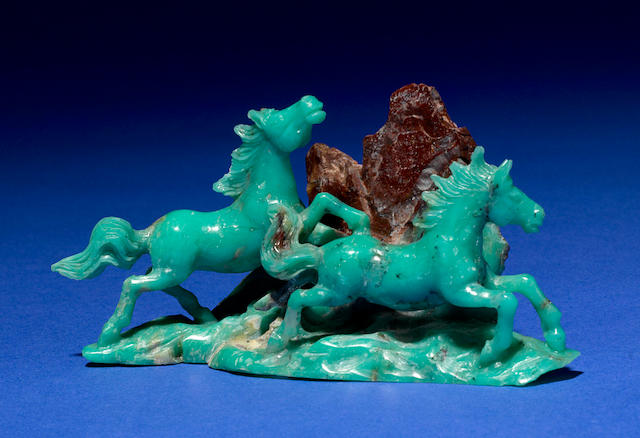 Chrysoprase Carving of Two Horses