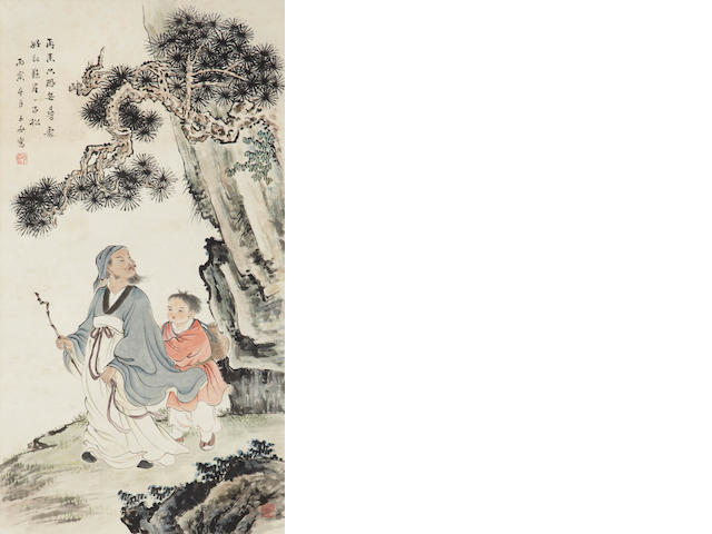 Shen Zichen Two paintings of Figures, hanging scroll