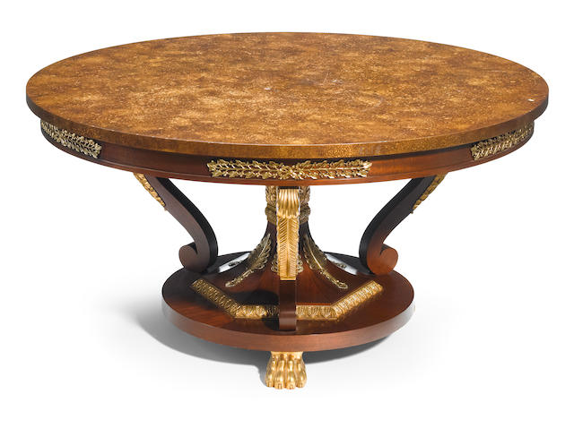 An Empire style parcel gilt center table