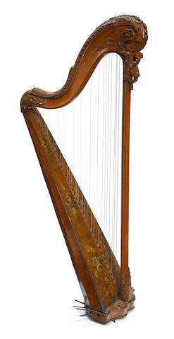 A Louis XVI paint decorated carved walnut thirty-six string harp  Jean-Henri Naderman (French, 1735-1799) circa 1775