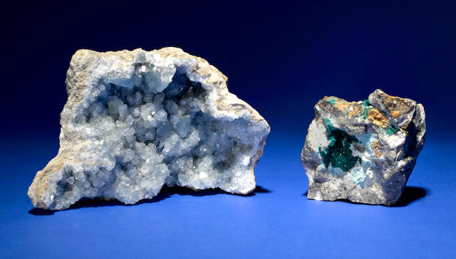 Two Mineral Specimens: Celestitite and Dioptase