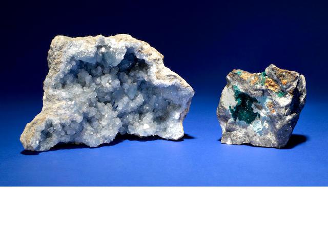 Celestial specimen and Dioptase