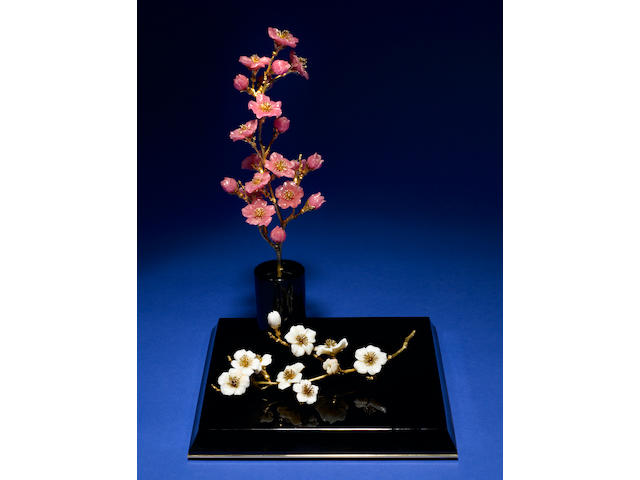 """White Crystal Opal, Rhodochrosite and Gold Flower Study--""""UME""""--The Japanese Plum Flower"""