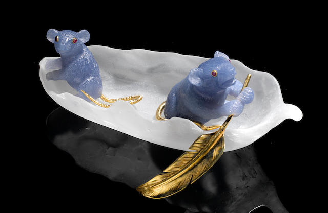 Blue Chalcedony Carving of Two Mice in a Boat