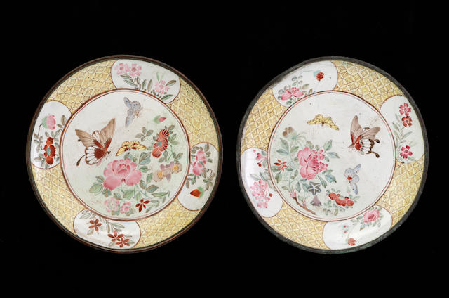 A pair of two small Canton enamel dishes 18th century