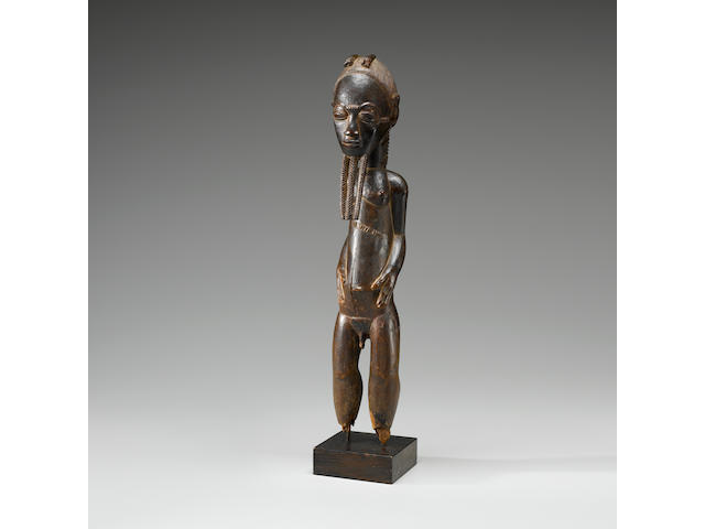 Exceptional Baule Male Standing Figure, Ivory Coast