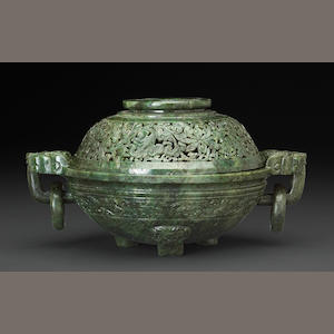A mottled green jade covered censer 19th century, with wood stand (legs reduced in size, repairs to cover)
