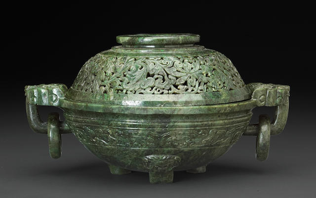 A mottled green jade covered censer 19th century