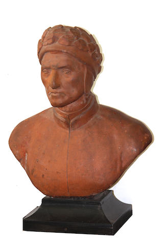 A terracotta bust of Dante (1265-1321)  late 19th/early 20th century