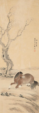 Zhao Shuru (1847 - 1945) Horse Sitting by Bank of Stream