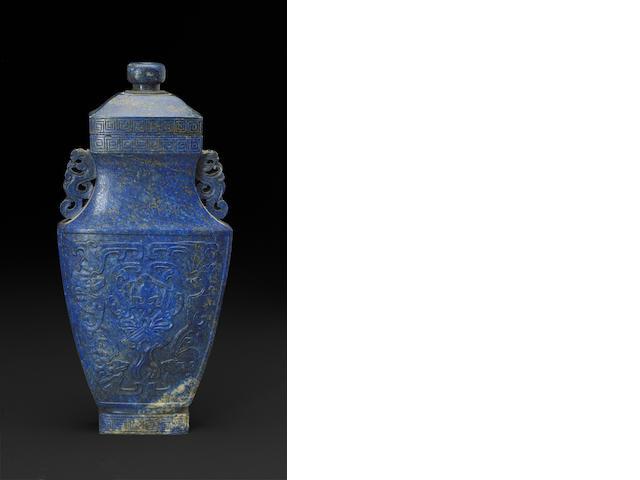 A carved lapis Lazuli lidded vase