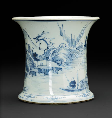 A Chinese blue and white porcelain brushpot with landscape decoration Kangxi period