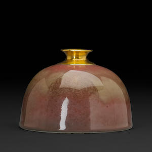Peachbloom glaze water pot with repaired rim