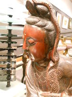 A laquered wood figure of Guanyin