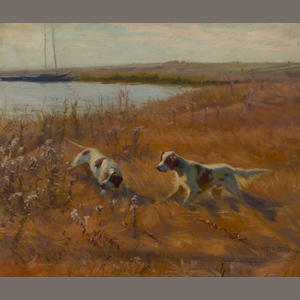 Elizabeth Strong (American, 1855-1941) English setters beside a lake 22 x 26 1/4