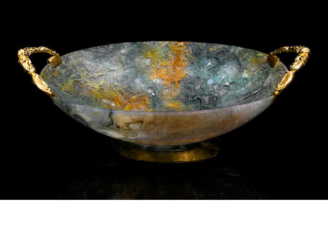 Moss agate bowl with 14k Rococo style handles.