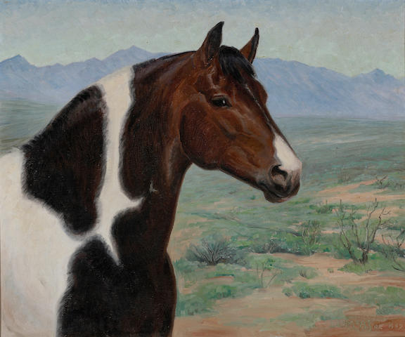 Ila Mae McAfee (American, 1897-1995) Donkey and foul; Head of a horse, 1969 (two) first 16 x 20in; second 20 x 24in