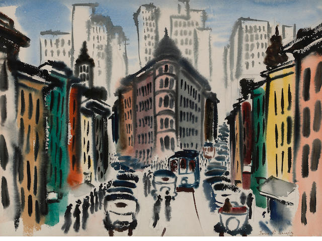 Thomas E. Lewis (American, 1909-1979) The Flatiron building, 1936 22 x 29 3/4in