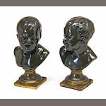A pair of Louis XV style patinated bronze busts of Comedy and Tragedy