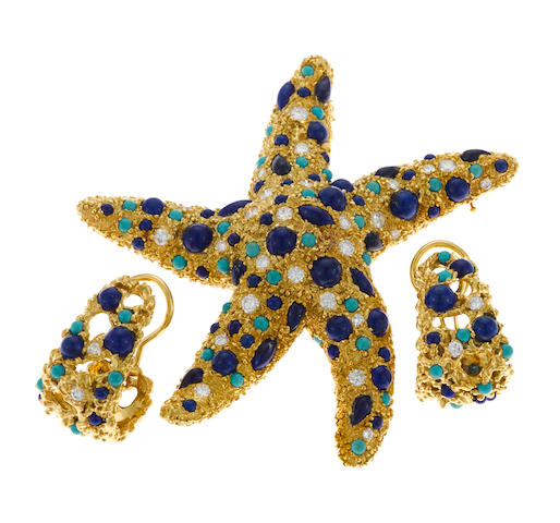 A pair of lapis lazuli, turquoise, round brilliant cut diamond and 18 karat gold ear clips, Ruser together A lapis lazuli, turquoise, round brilliant cut diamond and 18 karat gold starfish brooch, Italy