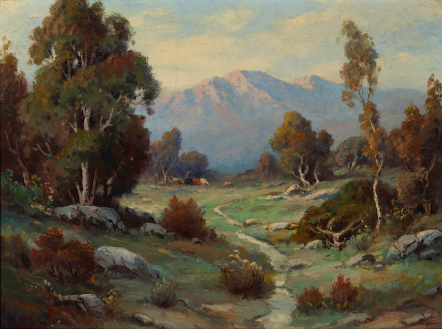 Alexis Matthew Podchernikoff (Russian/American, 1886-1933) Stream through a mountain landscape 18 x 24in