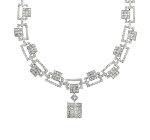 A princess-cut and RBC diamond and 18k white gold necklace, 16.25cts. approx total diamond weight