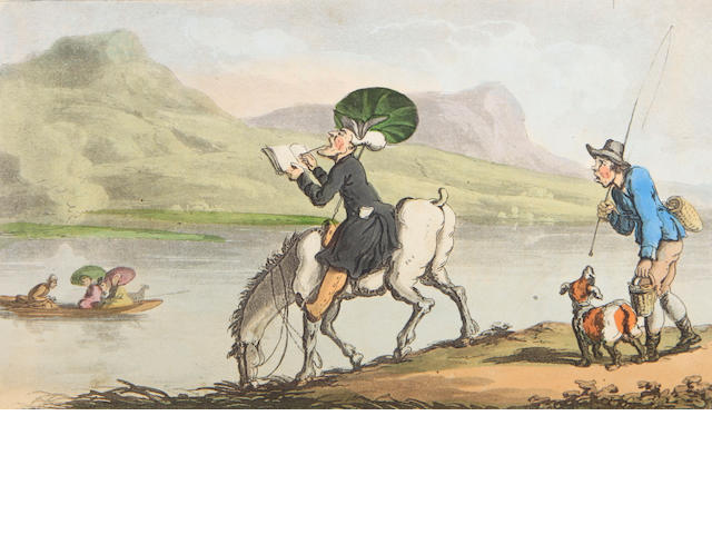 ROWLANDSON, THOMAS, illustrator.  COMBE, WILLIAM. The Tour of Doctor Syntax in Search of the Picturesque. [with] The Second Tour ... In Search of Consolation. London: R. Ackerman, [ca.1815] & 1820.