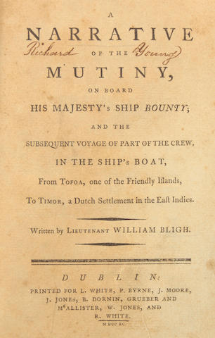 BLIGH, WILLIAM. A Narrative of the Mutiny, on Board His Majesty's Ship Bounty.... Dublin: L. White, P. Byrne, et al., 1790.