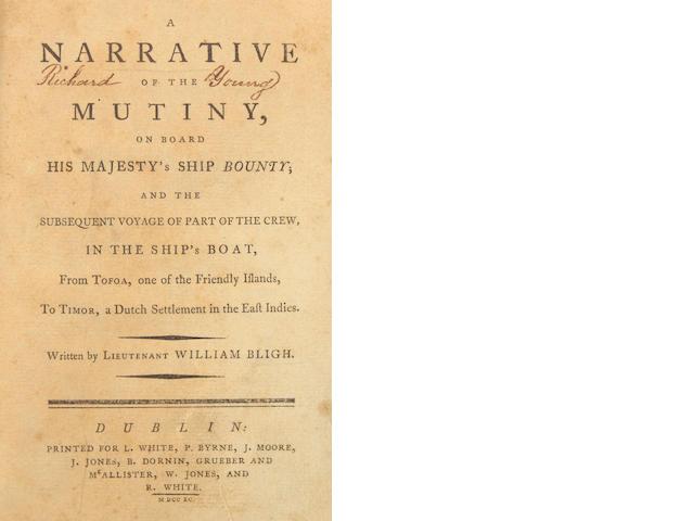 BLIGH, WILLIAM.  A Narrative of the Mutiny, on Board His Majesty's Ship Bounty.... Dublin: L. White, P. Byrne, et al., 1790.