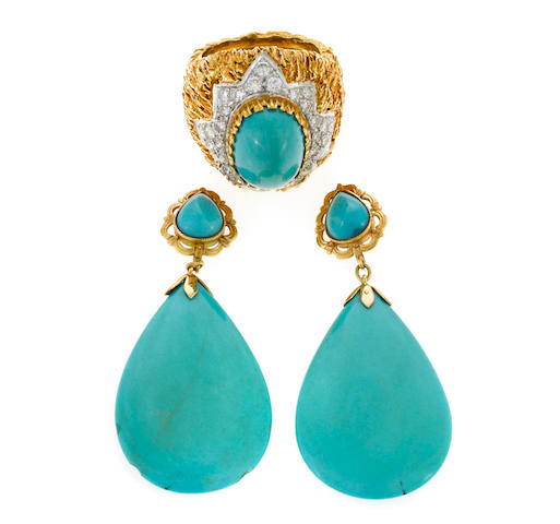 A turquoise and diamond ring together with a pair of pendant earrings