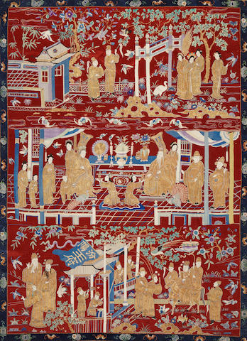 A large embroidered silk panel
