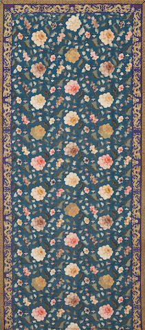 A large blue ground kesi woven panel