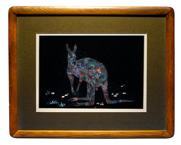 "Intaglio Gem Black Opal Inlay —""The Kangaroo"""