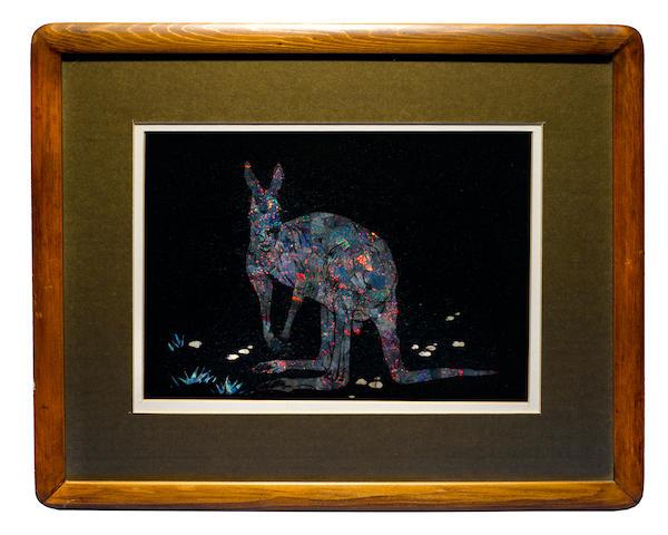 Opal mosaic image depiciting a kangaroo