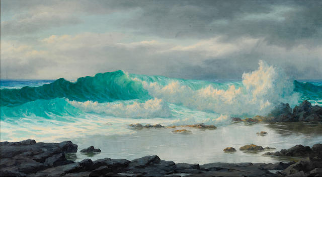 Lloyd Sexton, Jr. (American, 1912-1990) Waves crashing, Nanakuli, Oahu 20 x 36in