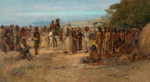 Alexander F. Harmer (American, 1856-1925) Gaspar de Portola arrives in Monterey 20 1/4 x 36 1/4in