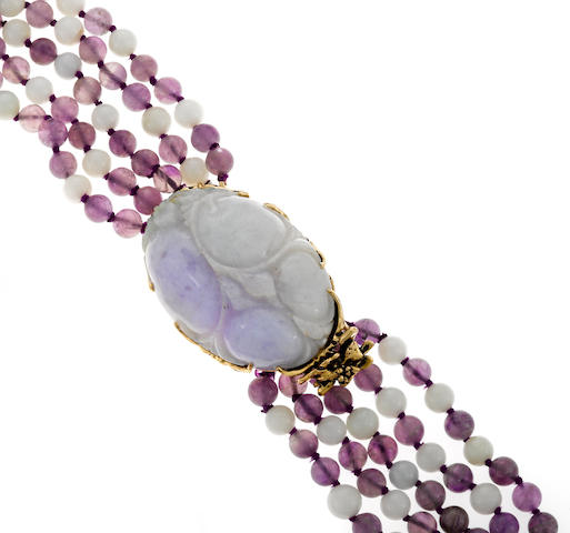 A lavender jade, amethyst and gold torsade necklace and pendant enhancer