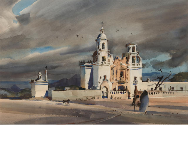 "Rex Brandt, Mexican Church Scene, 13"" x 19"""