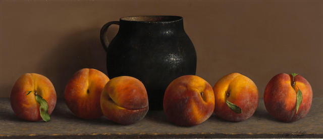 "William Acheff, 1988, Peaches, oil on canvas, 8 x 18"" Peaches, 1988 8 x 16in"