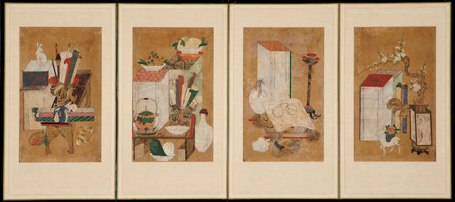 Anonymous (Late Joseon dynasty) A small four-panel chaekkori screen