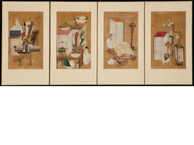 A Korean four panel screen Chaekkori 19th century