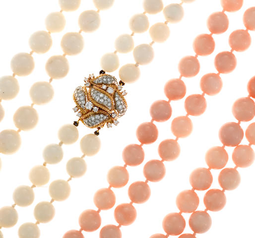A coral bead and diamond necklace set, Lakin et Cie