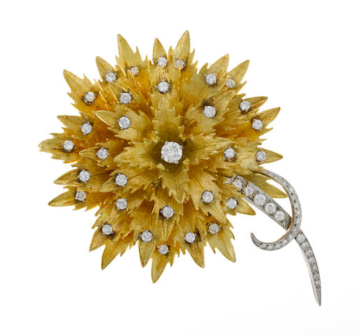 A diamond and 18k gold flower brooch; signed E. Pearl; etdw: 2.50cts (from a past appraisal)