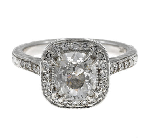 Diamond engagement ring 1.12 ct cush E SI2 with cert