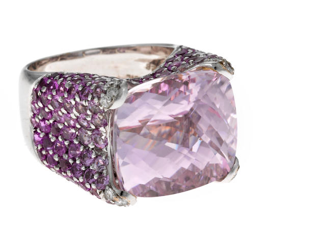 A kunzite, pink sapphire, diamond and 18k white gold ring