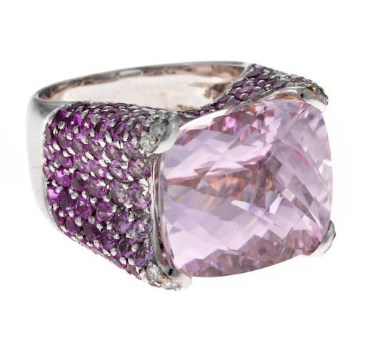 A kunzite, pink sapphire, diamond and 18k white gold ring